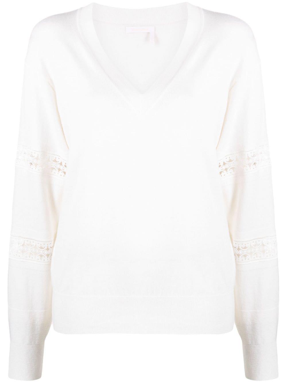 Feinstrick- Pullover bestickt