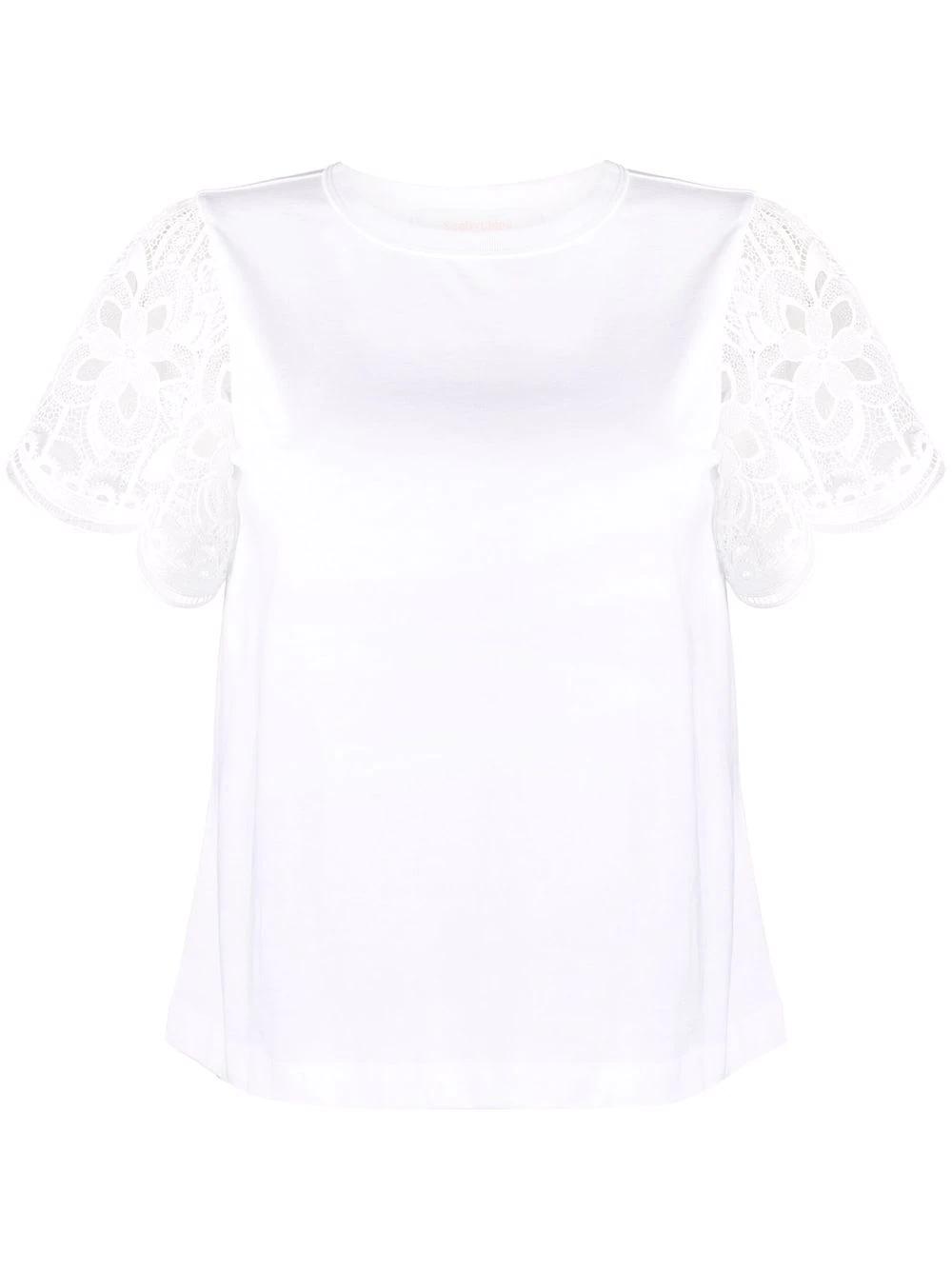 T-Shirt mit Spitzenärmeln
